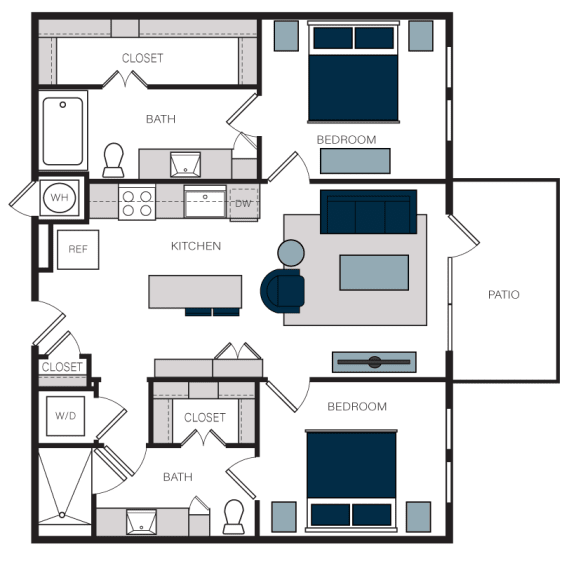 """B1"" 2 Bedroom 2 Bath Floor Plan at The Alastair at Aria Village, Sandy Springs, GA, 30328"