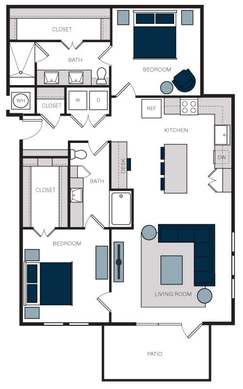 """B10"" 2 Bedroom 2 Bath Floor Plan at The Alastair at Aria Village, Sandy Springs, GA"