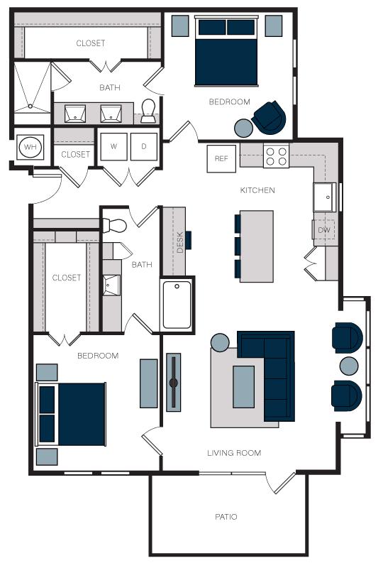 """B10"" 2 Bedroom 2 Bath Floor Plan Layout at The Alastair at Aria Village, Sandy Springs, GA, 30328"