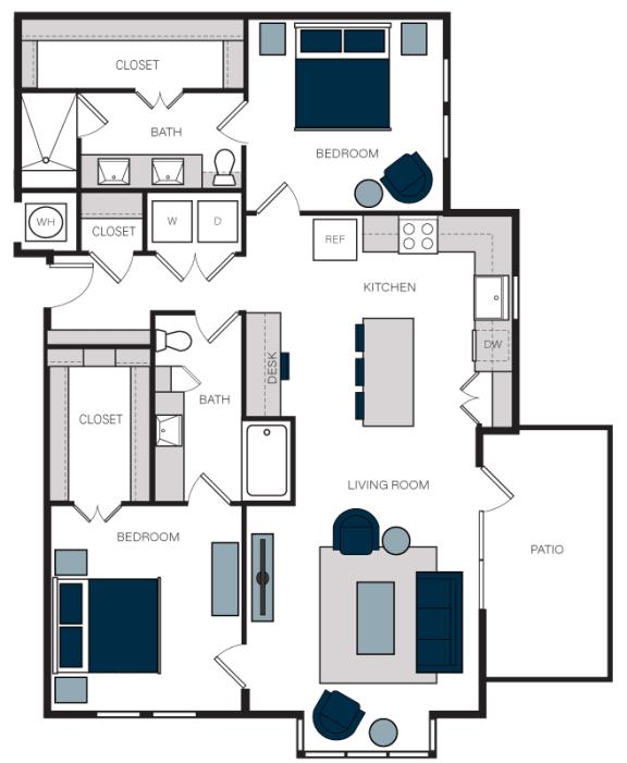 """B11"" 2 Bedroom 2 Bath Floor Plan Layout at The Alastair at Aria Village, Sandy Springs, 30328"