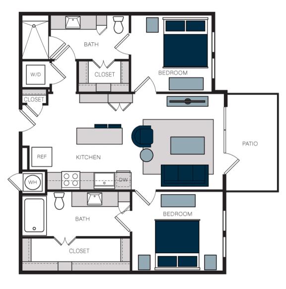 """B2"" 2 Bedroom 2 Bath Floor Plan at The Alastair at Aria Village, Sandy Springs"