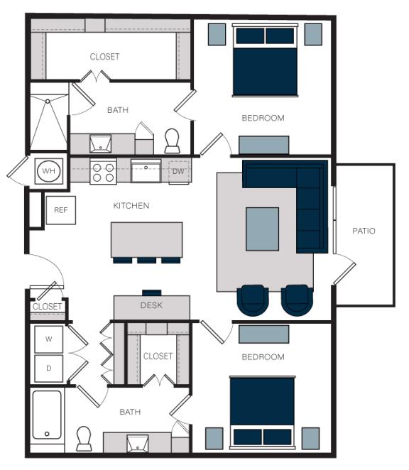"""B3"" 2 Bedroom 2 Bath Floor Plan at The Alastair at Aria Village, Georgia, 30328"