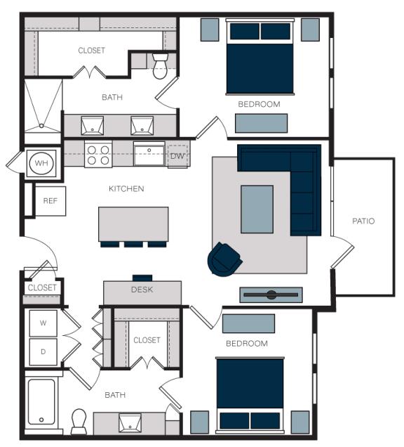 """B4"" 2 Bedroom 2 Bath Floor Plan at The Alastair at Aria Village, Sandy Springs, GA, 30328"