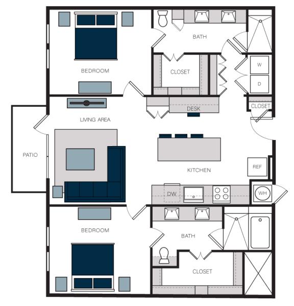 """B5"" 2 Bedroom 2 Bath Floor Plan at The Alastair at Aria Village, Sandy Springs, GA"
