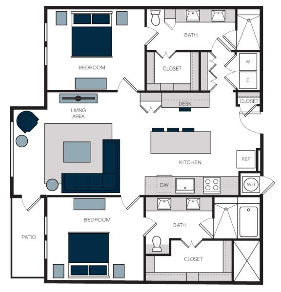 """B6"" 2 Bedroom 2 Bath Floor Plan at The Alastair at Aria Village, Sandy Springs, 30328"