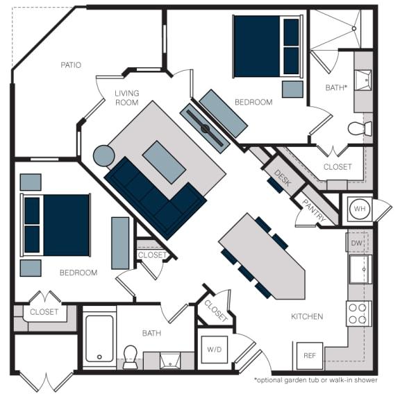 """B7.1"" 2 Bedroom 2 Bath Floor Plan at The Alastair at Aria Village, Sandy Springs"