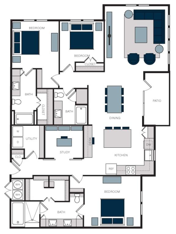 """C1"" 3 Bedroom 3 Bath Floor Plan Layout at The Alastair at Aria Village, Sandy Springs"