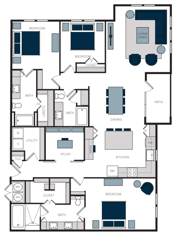 """C2"" 3 Bedroom 3 Bath Floor Plan Layout at The Alastair at Aria Village, Georgia"