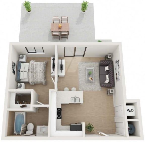 1 Bed 1 Bath Floor Plan at Twenty2 West, West Miami, Florida