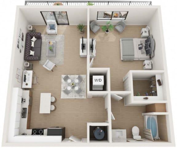 1 Bedroom 1 Bathroom Floor Plan at Twenty2 West, West Miami