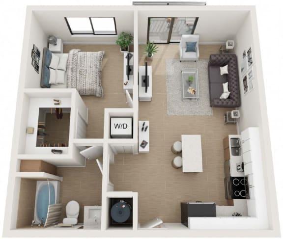 1 Bedroom 1 Bath Floor Plan at Twenty2 West, Florida