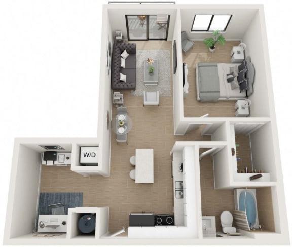 One Bed One Bath Floor Plan at Twenty2 West, Florida, 33155