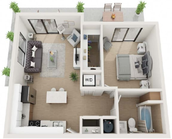 1 Bed 1 Bath Eighty5  Floor Plan at Twenty2 West, West Miami, FL, 33155