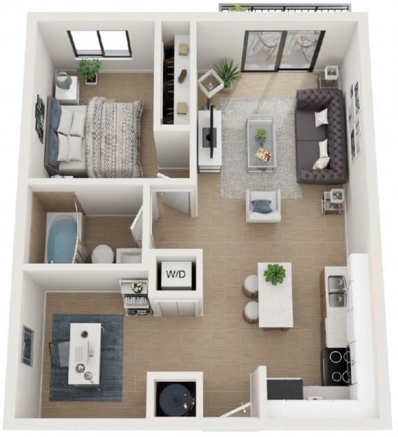 1 Bedroom 1 Bathroom Eighty6 Floor Plan at Twenty2 West, West Miami, FL