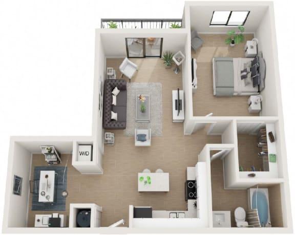1 Bed 1 Bath Eighty7 Floor Plan at Twenty2 West, West Miami, 33155