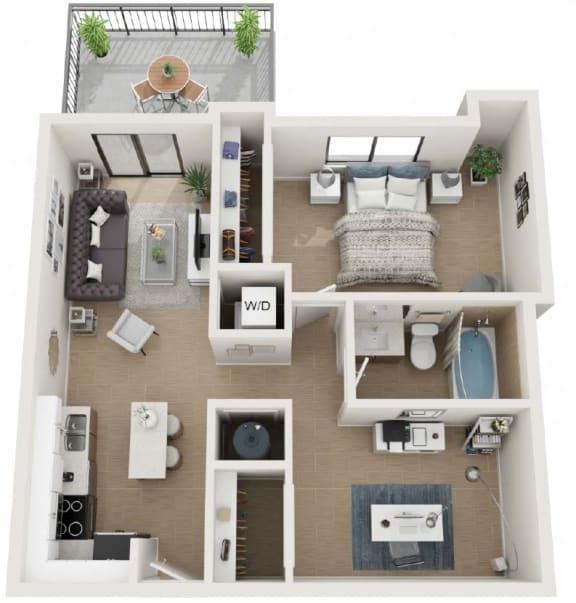 1 Bedroom 1 Bath Eighty8 Floor Plan at Twenty2 West, West Miami, Florida