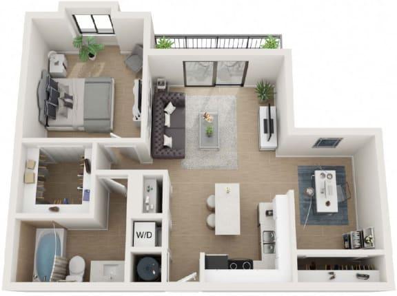 1 Bedroom 1 Bathroom Eighty9 Floor Plan at Twenty2 West, West Miami
