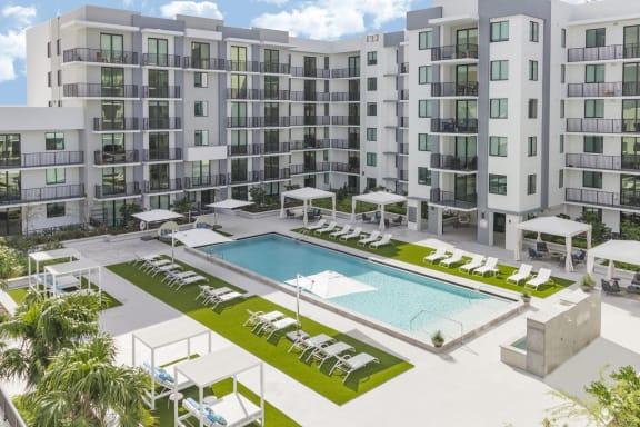 Drone View Of Pool at Twenty2 West, West Miami, 33155
