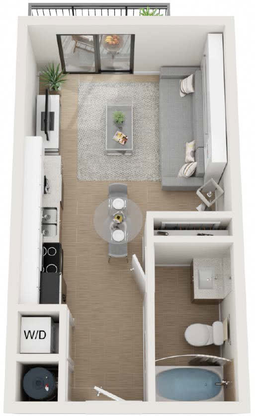 Studio Floor Plan at Twenty2 West, Florida, 33155
