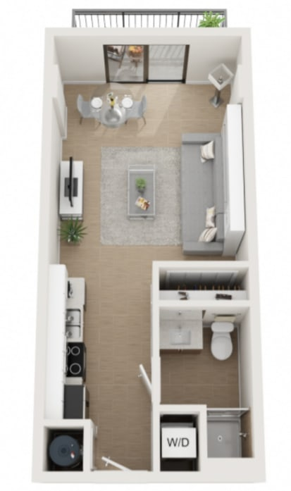 Studio Sixty3 Floor Plan at Twenty2 West, Florida, 33155