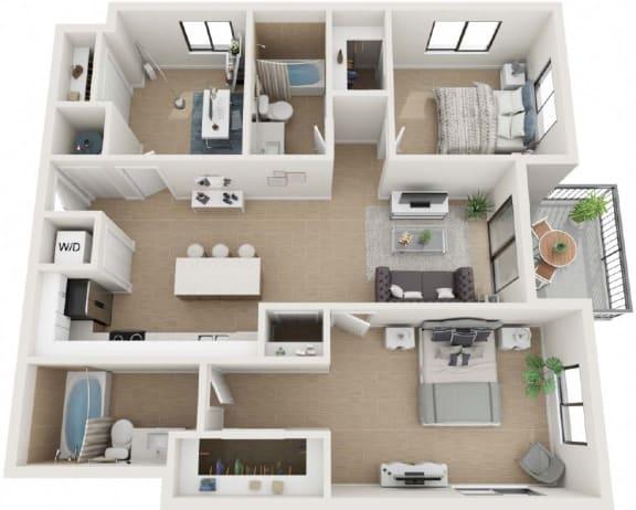 2 Bed 2 Bath Thirty1 Floor Plan at Twenty2 West, West Miami, FL, 33155