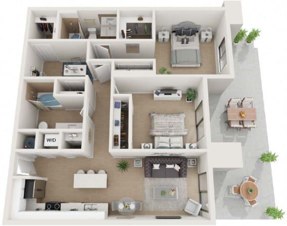 2 bedroom 2 bath Thirty2 Floor Plan at Twenty2 West, West Miami, FL