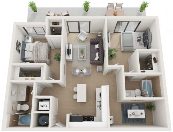 2 Bed 2 Bath Thirty3 Floor Plan at Twenty2 West, West Miami, 33155