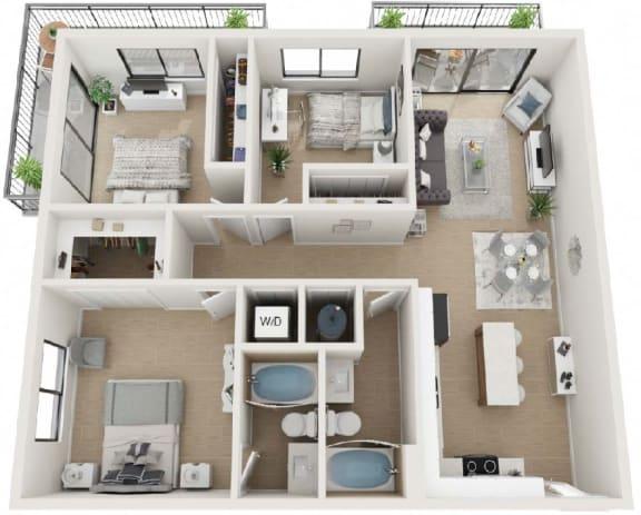 3 Bed 2 Bath Floor Plan at Twenty2 West, West Miami, Florida