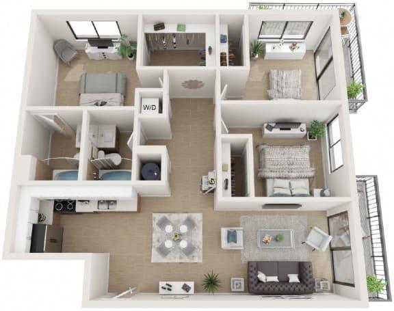 3 Bedroom and 2 Bath Floor Plan at Twenty2 West, West Miami