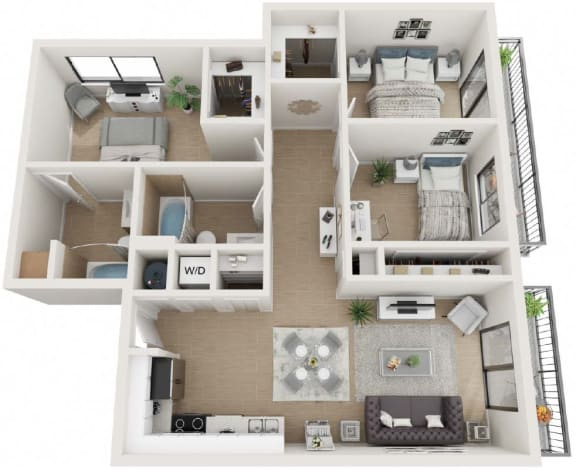 3 Bedroom 2 Bathroom Floor Plan at Twenty2 West, Florida