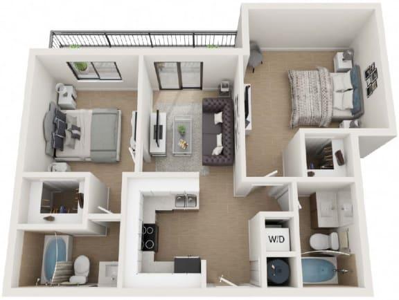 2 Bed 2 Bath Floor Plan at Twenty2 West, Florida