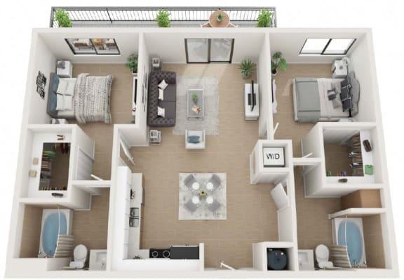 2 Bedroom 2 Bathroom Floor Plan at Twenty2 West, Florida, 33155