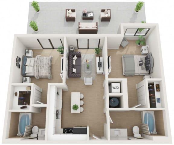 2 bedroom 2 bath Floor Plan at Twenty2 West, West Miami, FL, 33155