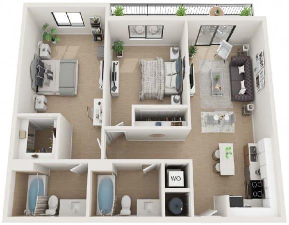 2 Bed 2 Bath Twenty4 Floor Plan at Twenty2 West, West Miami, FL