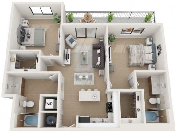 2 Bedroom 2 Bathroom Twenty5 Floor Plan at Twenty2 West, West Miami, 33155