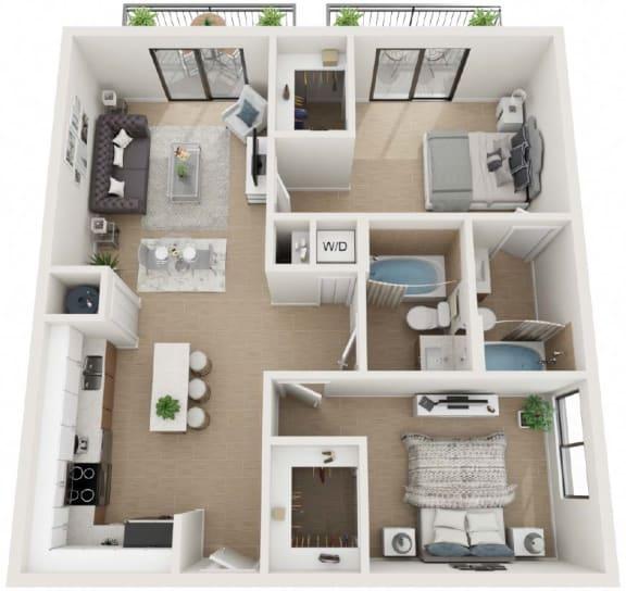 2 Bed 2 Bath Twenty6 Floor Plan at Twenty2 West, West Miami, Florida