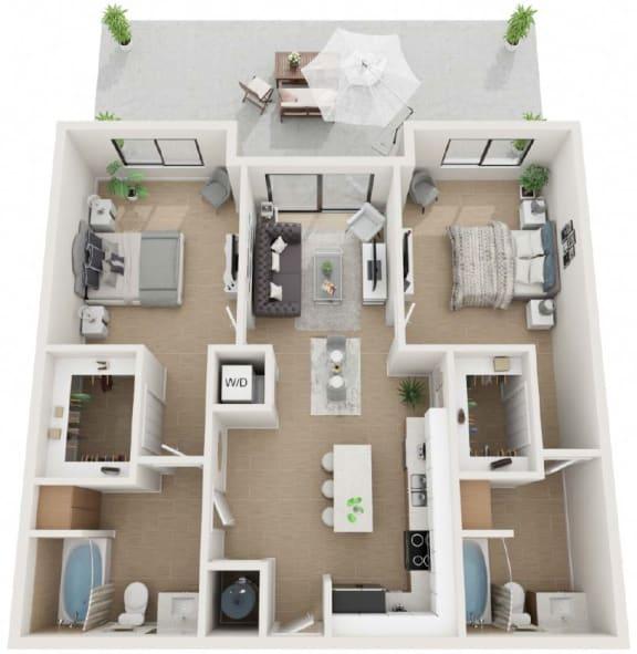 2 Bedroom 2 Bathroom Twenty7 Floor Plan at Twenty2 West, West Miami