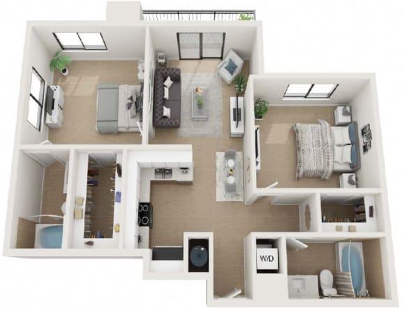 2 Bed 2 Bath Twenty8 Floor Plan at Twenty2 West, Florida