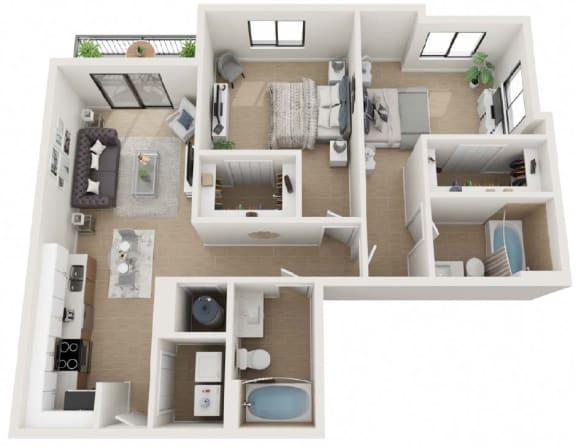 2 Bedroom 2 Bathroom Twenty9 Floor Plan at Twenty2 West, Florida, 33155