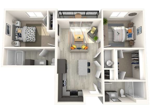 B1 Floor Plan at Paradise @ P83 Apartments, P.B. BELL Assets, Arizona