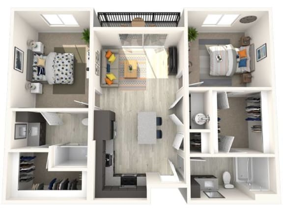 B2 Floor Plan at Paradise @ P83 Apartments, P.B. BELL Assets, Arizona, 85382