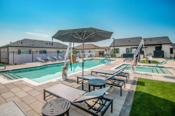 Poolside Relaxing Area at Parke Place Apartments, P.B. BELL Assets Management, Prescott Valley, AZ