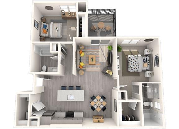 B1 Floor Plan at Grayson Place Apartments, P.B. BELL Assets Management, Goodyear, Arizona