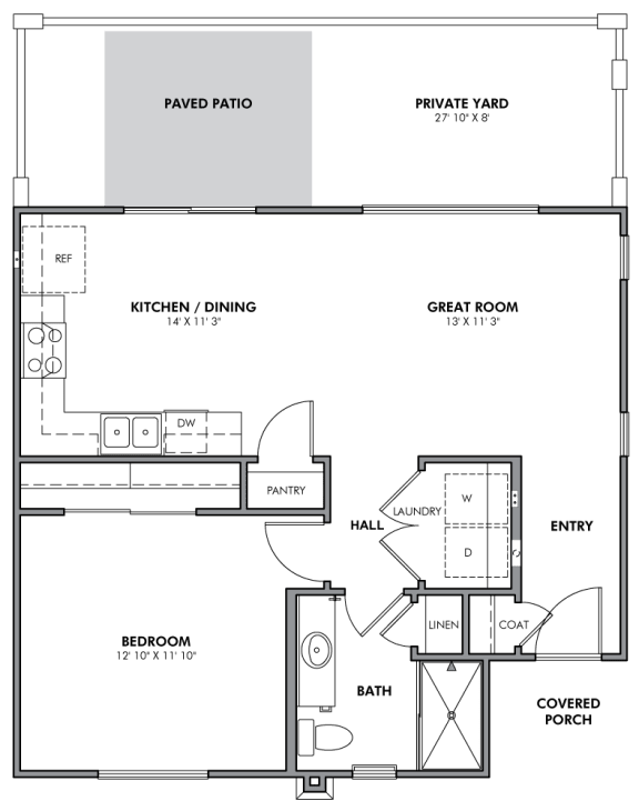 A1 Duplex Style Floor Plan at Parke Place Apartments, P.B. BELL, Arizona, 86314