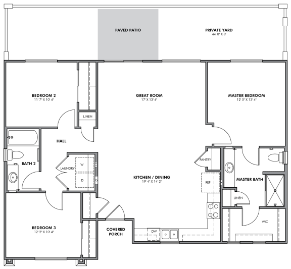 C1 Standalone Floor Plan at Parke Place Apartments, P.B. BELL, Prescott Valley, 86314