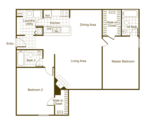 Floor Plan  Maple 2Bed_2Bath at The Timbers, Virginia, 23235