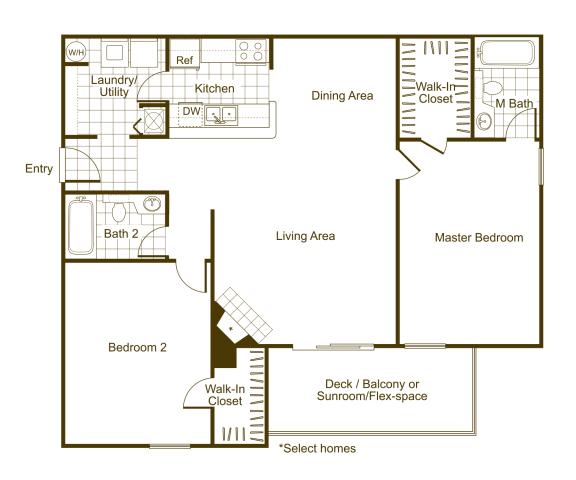 Floor Plan  Magnolia 2Bed_2Bath at The Timbers, Richmond, VA, 23235