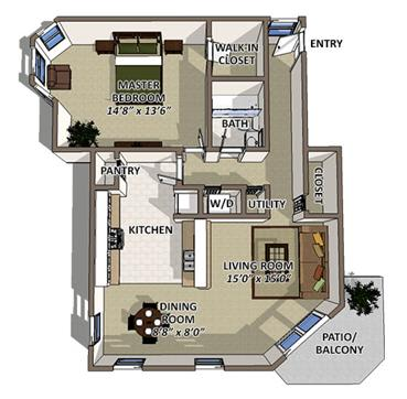 Floor Plan  South Hampton floor plan at The Villages of Banyan Grove Apartments in Boynton Beach