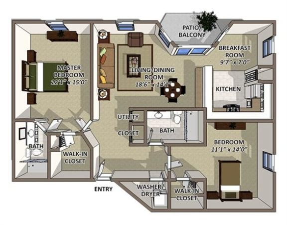 Andros floor plan at The Villages of Banyan Grove Apartments for rent in Boynton Beach FL