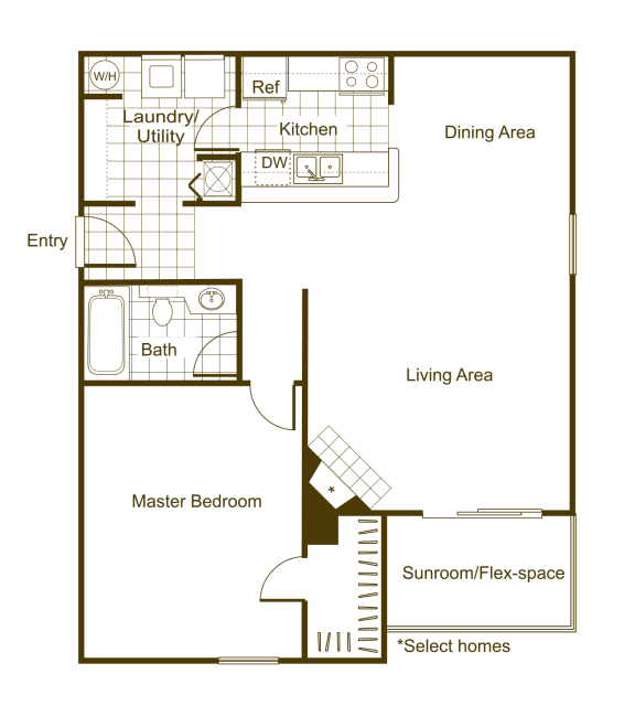 Floor Plan  Willow 1Bed_1Bath at The Timbers, Richmond, Virginia